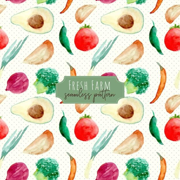 新鮮な農場の果物と野菜の水彩画のシームレスパターン Premiumベクター