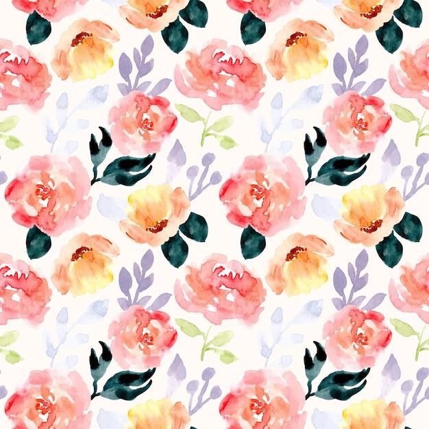 美しい花の水彩画のシームレスパターン Premiumベクター