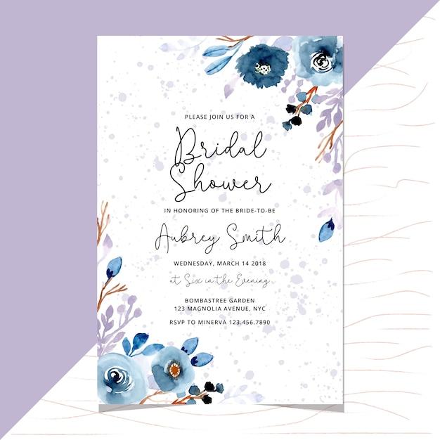 Свадебный душ приглашение с цветочной акварельной каймой Premium векторы