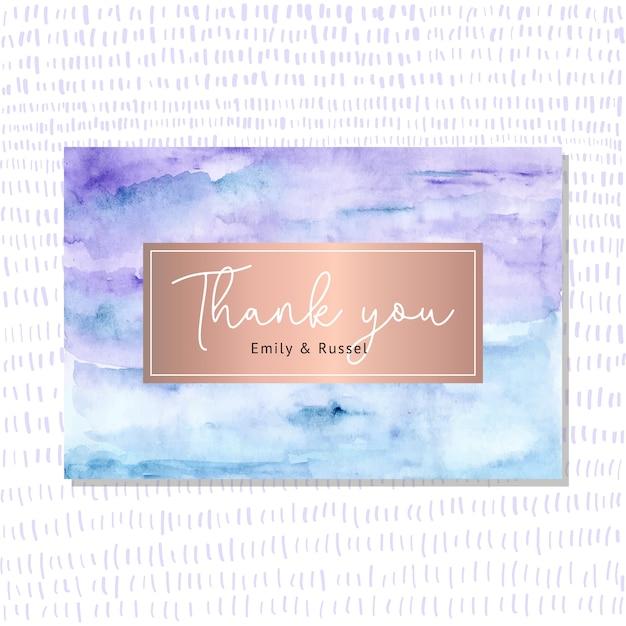 抽象的な水彩画の背景を持つありがとうカード Premiumベクター