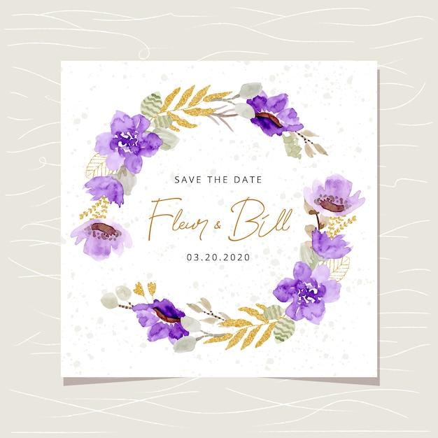 Сохранить дату карты с фиолетовым золотым цветочным акварельным венком Premium векторы