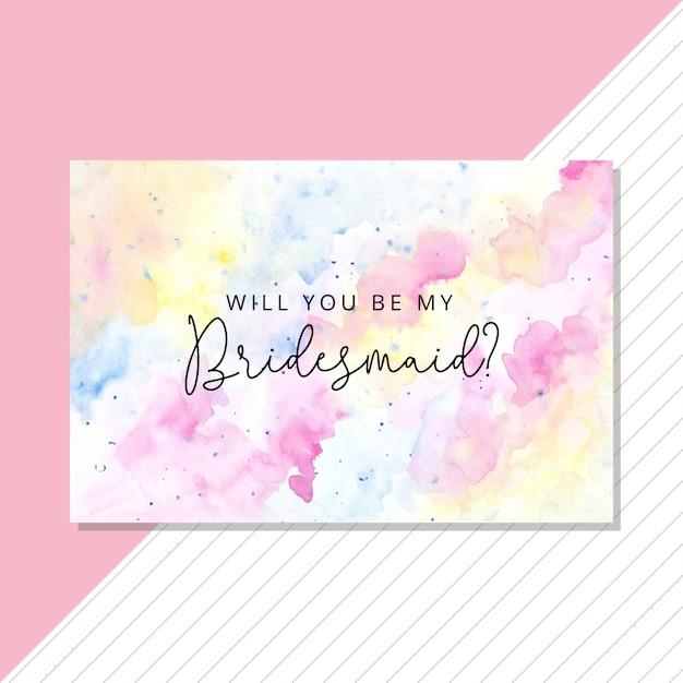 パステル調の水彩画とブライドメイドカード Premiumベクター