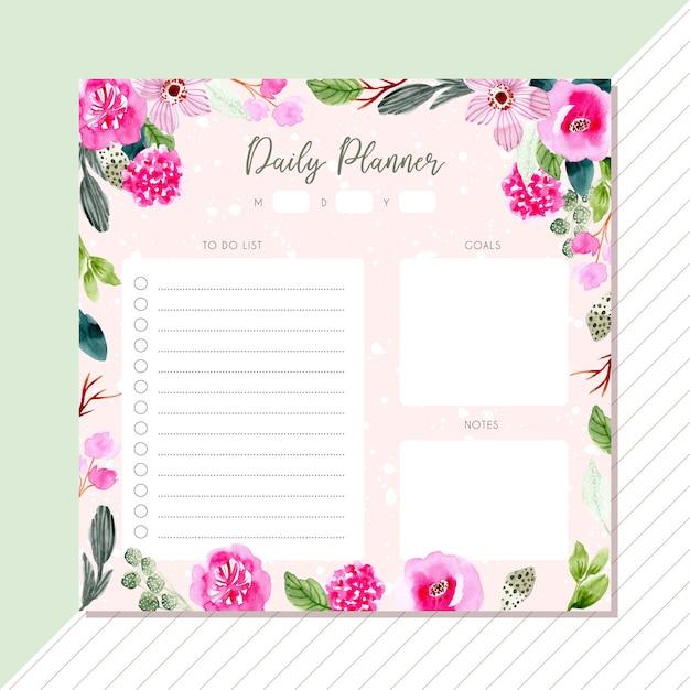 ピンクの緑の花の水彩画フレームとデイリープランナー Premiumベクター