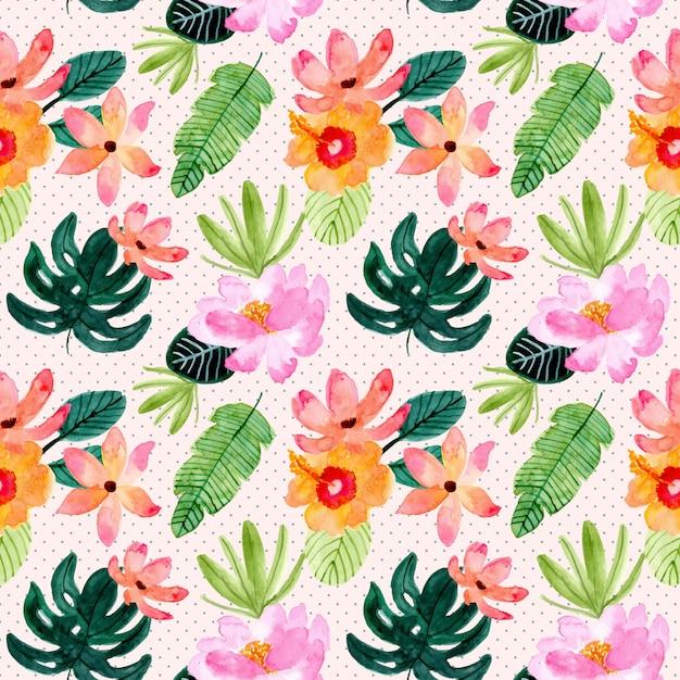Тропическое лето цветочные акварели бесшовный фон Premium векторы