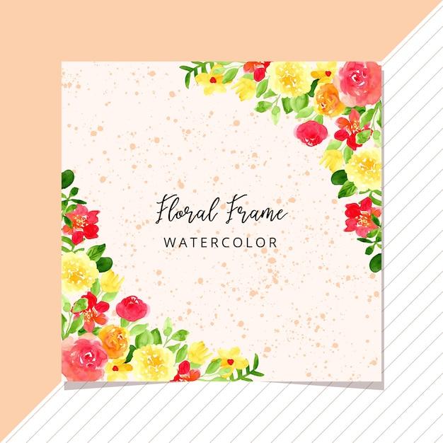 熱帯の花のフレームの水彩画と多目的カード Premiumベクター