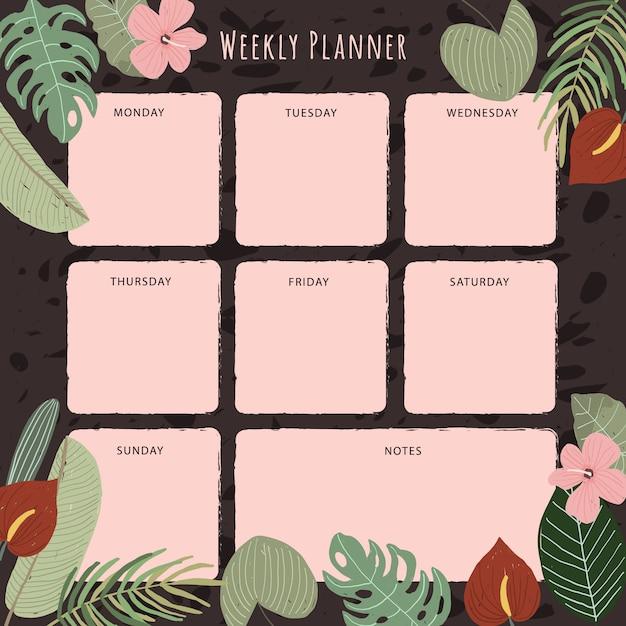 熱帯植物の背景を持つ週間プランナー Premiumベクター