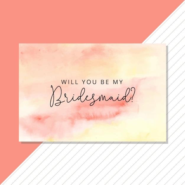 夏の抽象的な水彩画の背景を持つ花嫁介添人カード Premiumベクター