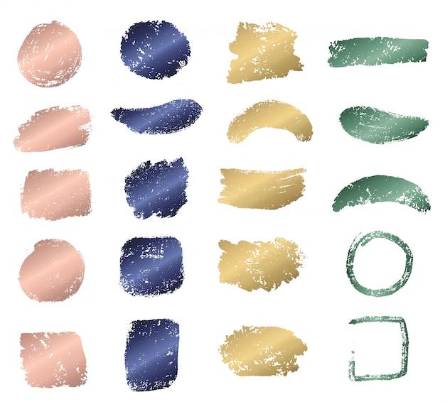 メタリックカラーコレクションとグランジブラシストローク Premiumベクター