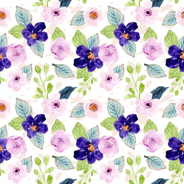 甘い紫花水彩画シームレスパターン Premiumベクター