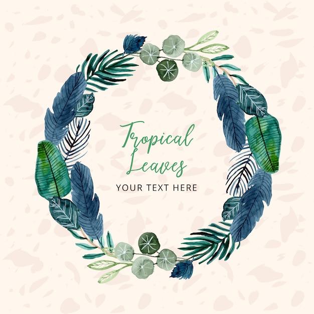 Тропическая акварель оставляет венок с текстовым шаблоном Premium векторы