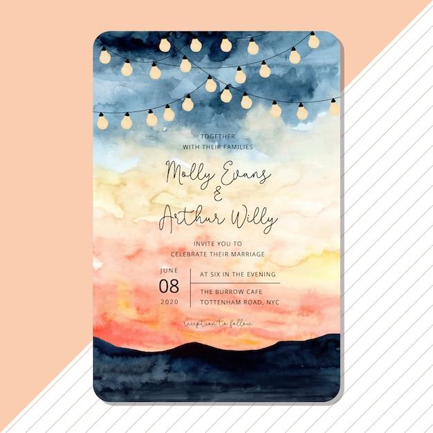 結婚式の招待カードテンプレート文字列の光と風景の水彩画 Premiumベクター