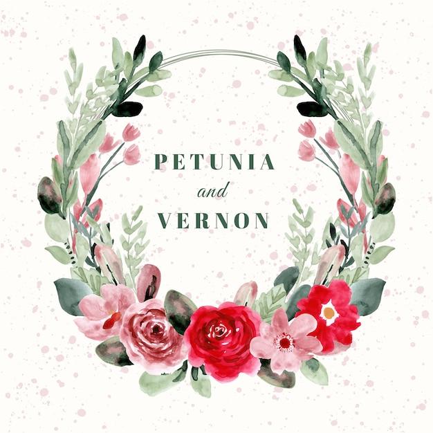 美しい水彩画の花の花輪を持つ結婚式のバッジ Premiumベクター