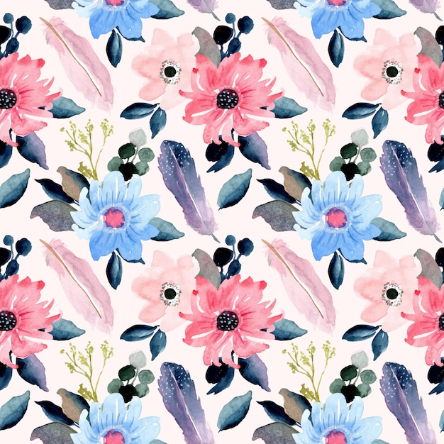 美しい花と羽の水彩画のシームレスパターン Premiumベクター