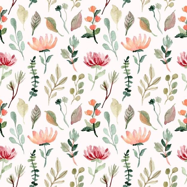 花と葉の水彩画のシームレスパターン Premiumベクター