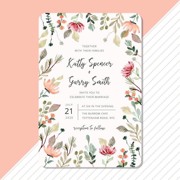 花と葉の水彩画フレームと結婚式の招待カードのテンプレート Premiumベクター
