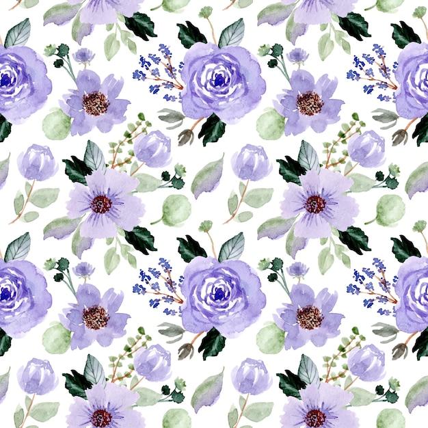 紫花水彩シームレスパターン Premiumベクター
