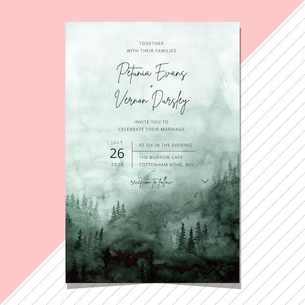 霧の緑の森水彩背景の結婚式の招待状 Premiumベクター