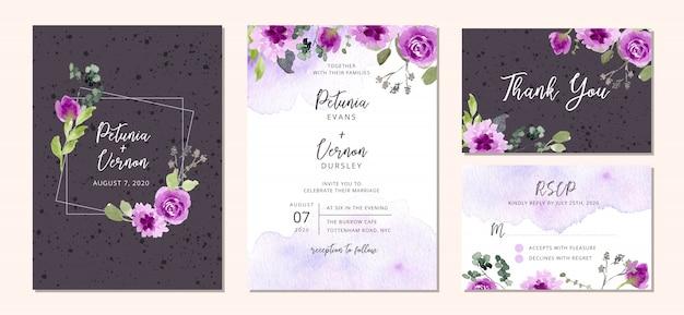 Свадебный пригласительный с фиолетовым цветочным орнаментом и акварелью Premium векторы