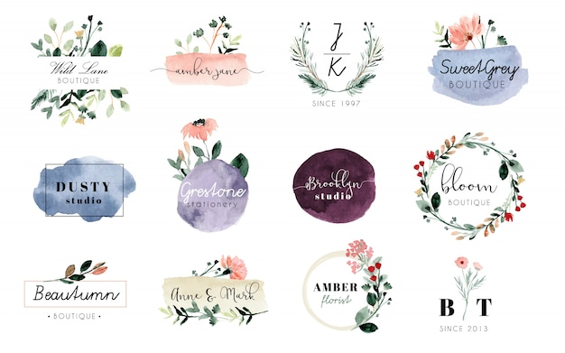 既製のロゴの花とブラシストロークの水彩画コレクション Premiumベクター