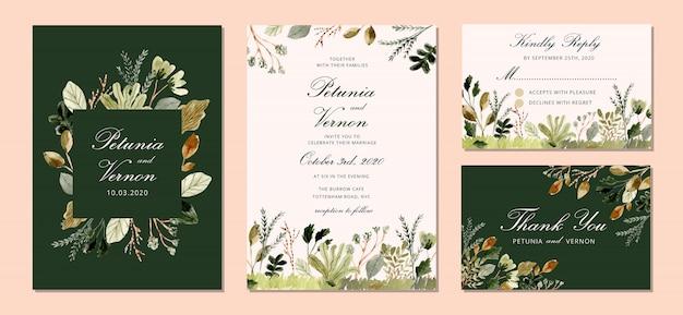葉の庭の水彩画との結婚式の招待スイート Premiumベクター