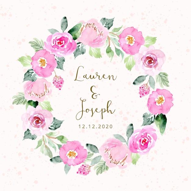 Свадебное приглашение с розовым цветочным венком Premium векторы