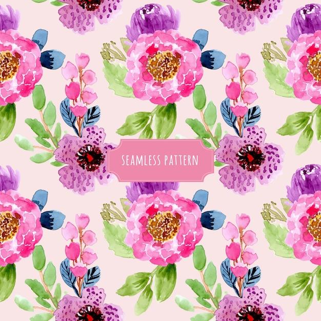 かわいい花の水彩のシームレスなパターン Premiumベクター
