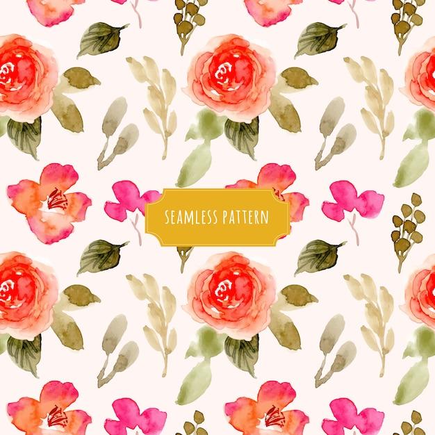 かわいい花の水彩シームレスパターン Premiumベクター