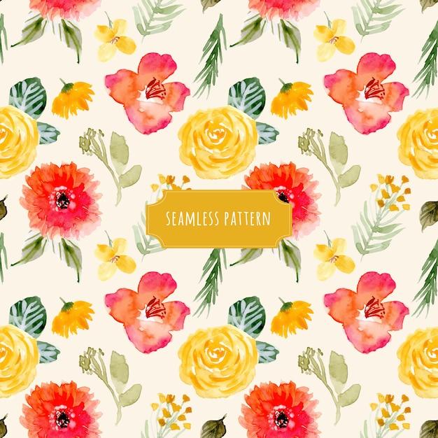 黄色の赤い花の水彩シームレスパターン Premiumベクター
