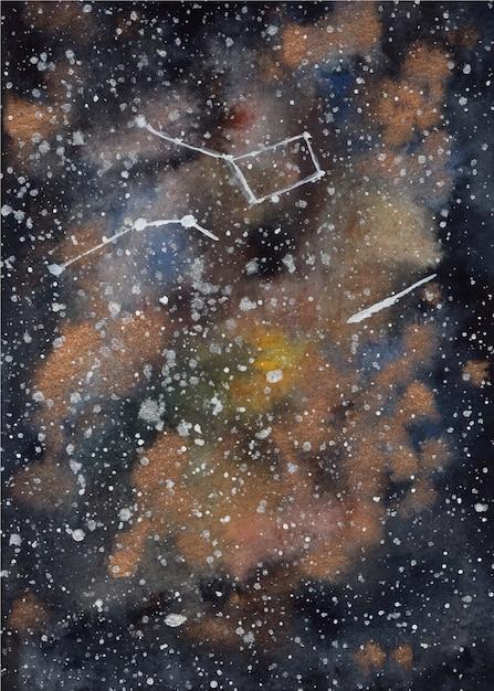 ブラックゴールドの水彩銀河の背景 Premiumベクター