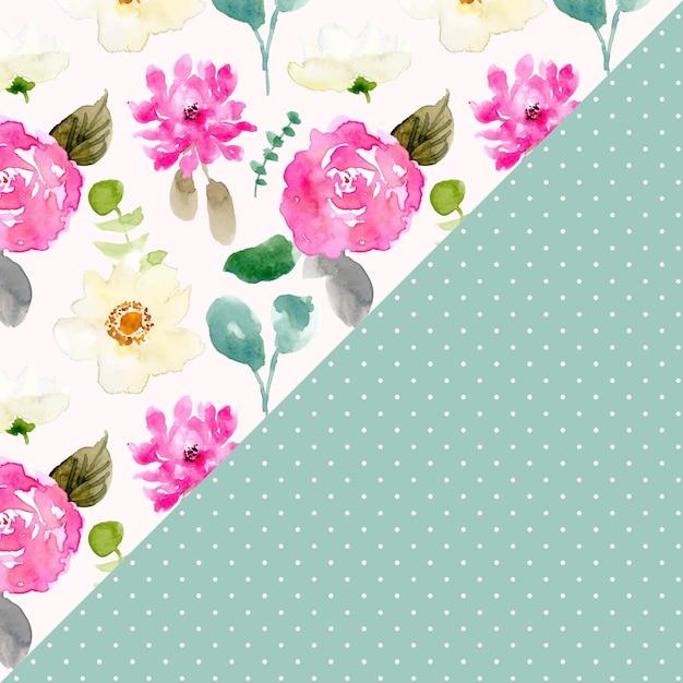 花の水彩とドットのシームレスなパターン Premiumベクター