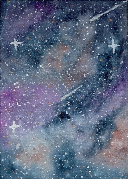 星空の水彩の背景 Premiumベクター