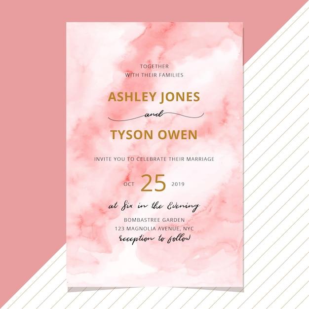 抽象的な赤面の水彩の背景と結婚式の招待状 Premiumベクター