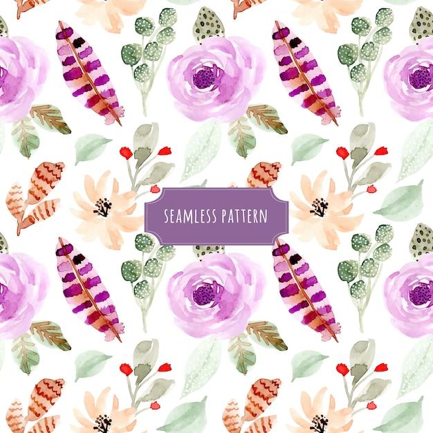 花と羽の水彩シームレスパターン Premiumベクター