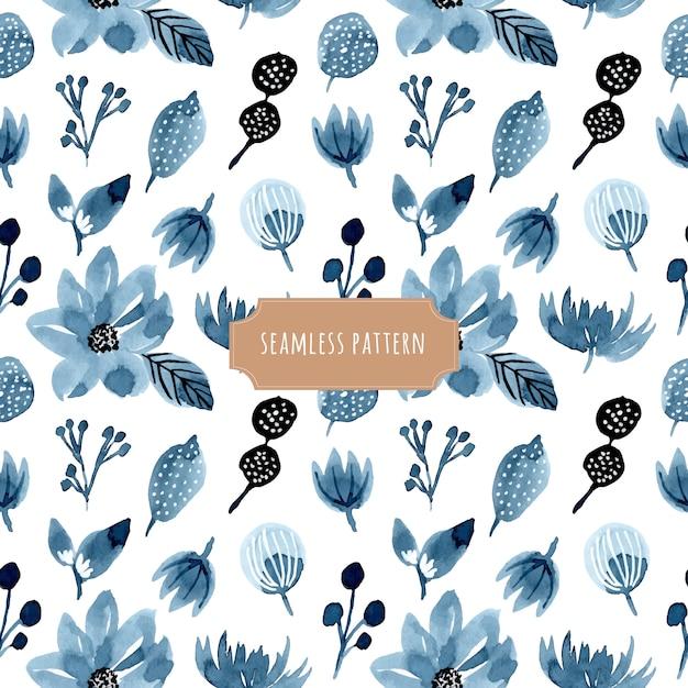 インディゴ花の水彩シームレスパターン Premiumベクター