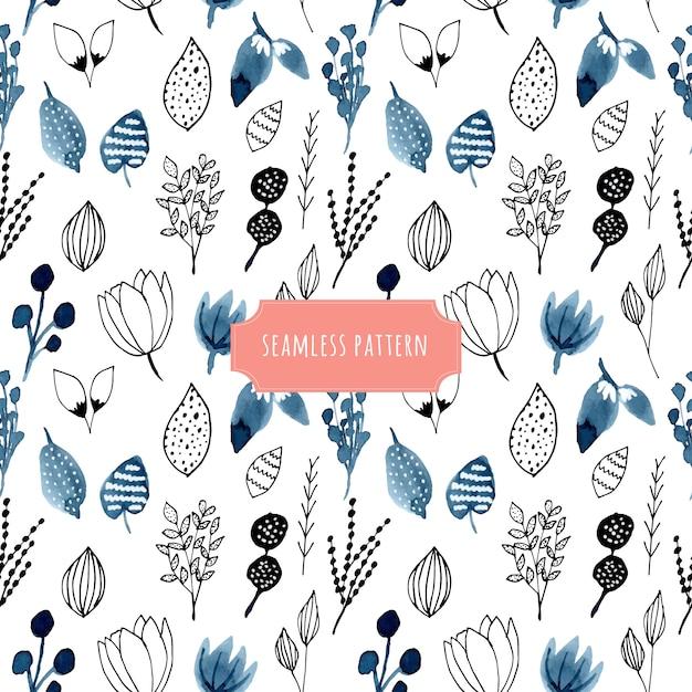 水彩画と手描きの花のシームレスなパターン Premiumベクター