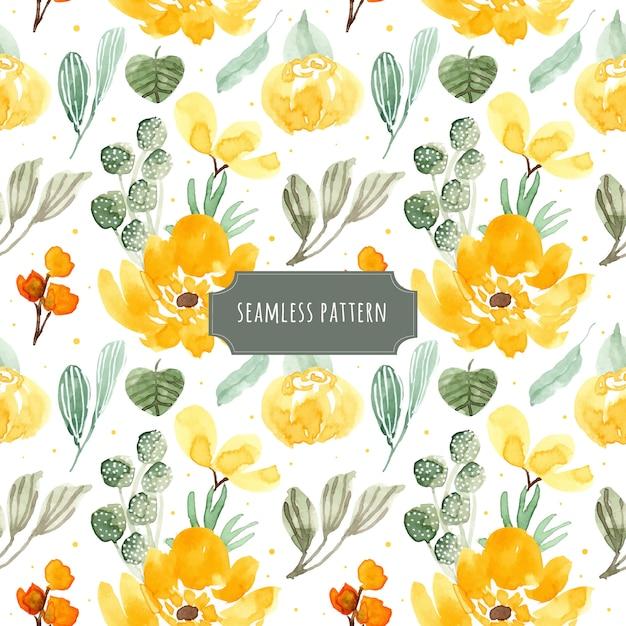 黄色の緑の花の水彩シームレスパターン Premiumベクター
