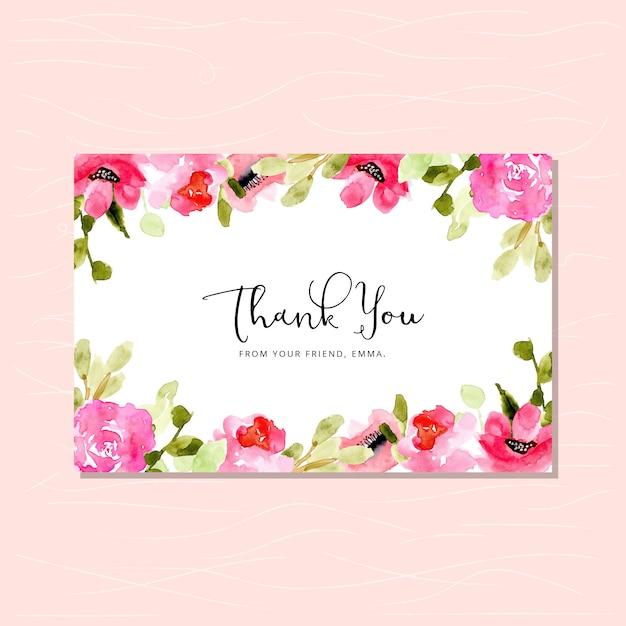 ピンクの花の水彩画のフレームありがとうございます Premiumベクター
