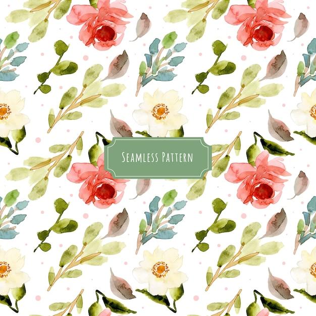 白ピンク緑の花の水彩シームレスパターン Premiumベクター
