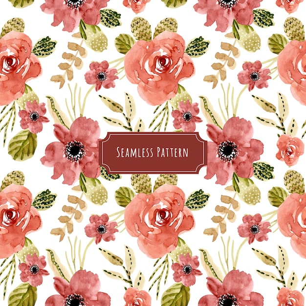 美しい赤い花の水彩のシームレスなパターン Premiumベクター