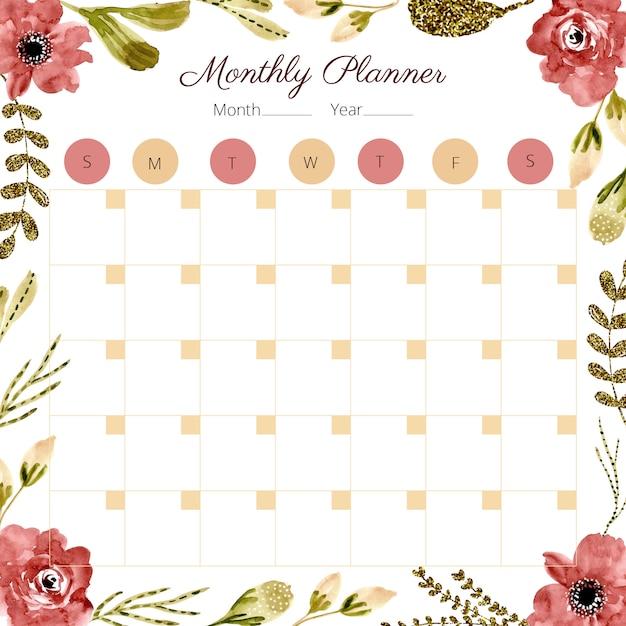 毎月のプランナーと水彩の花のフレーム Premiumベクター