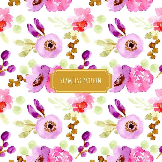 紫ピンクの花の水彩シームレスパターン Premiumベクター