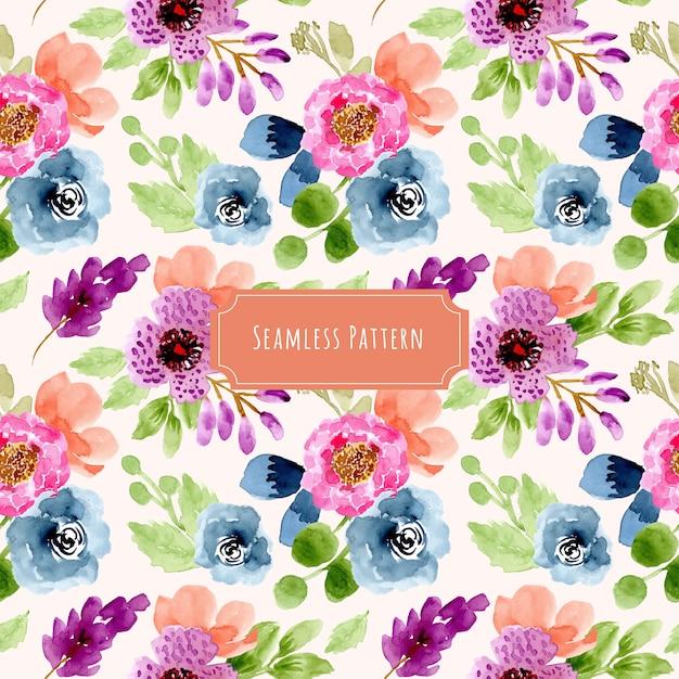 カラフルな花柄水彩画シームレスパターン Premiumベクター