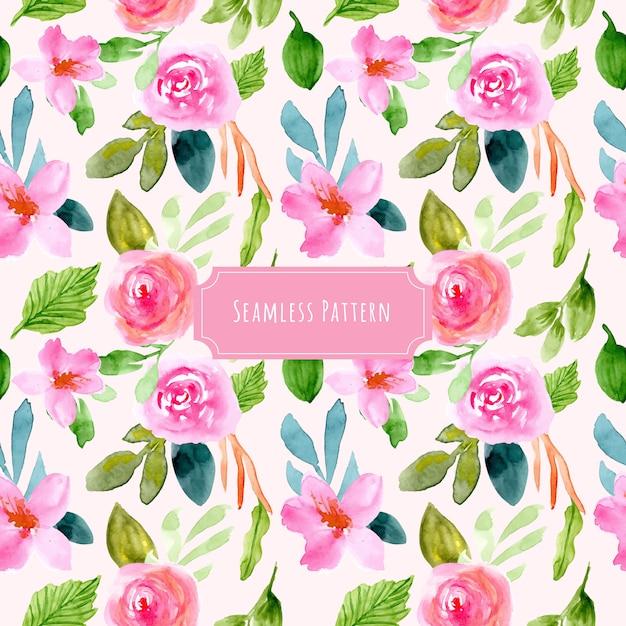 甘いピンクの花の水彩画のシームレスパターン Premiumベクター