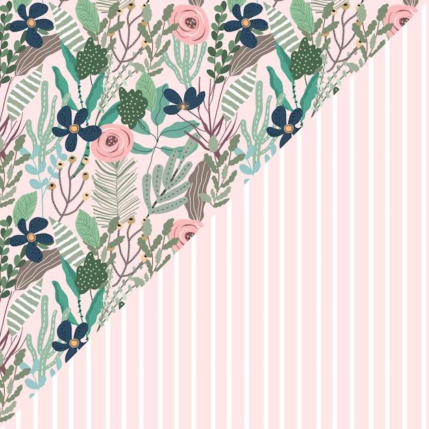 Красивый цветочный и полосатый узор бесшовные Premium векторы