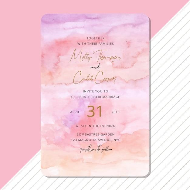 美しい抽象的な水彩画の背景を持つ結婚式の招待状 Premiumベクター