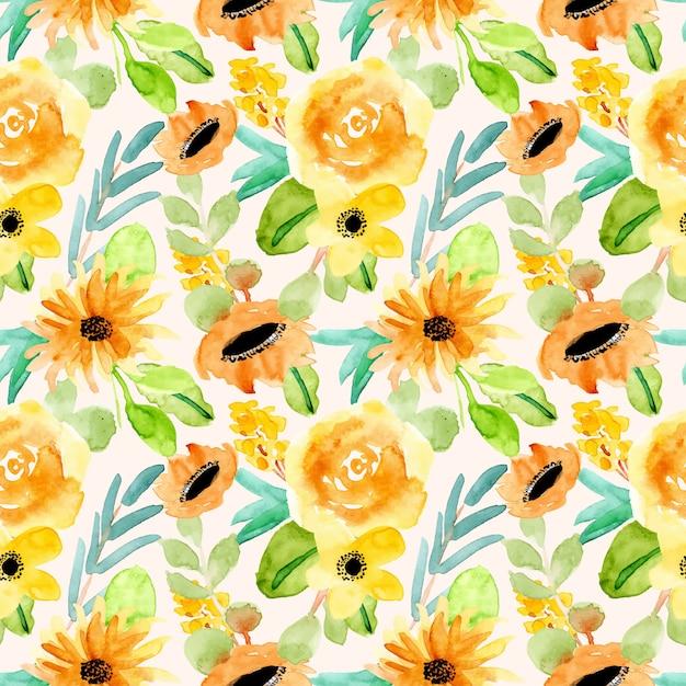 イエローグリーンの花柄水彩画シームレスパターン Premiumベクター