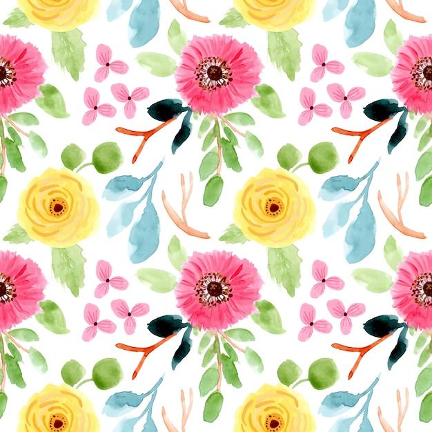 花の水彩画シームレス花柄 Premiumベクター