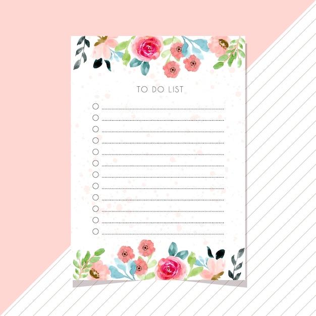 花の水彩画枠でリストカードをする方法 Premiumベクター