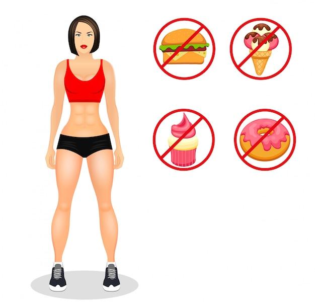 スポーツウェアのフィット女性とフィットネスの概念。筋肉モデルの漫画の女の子。有用で有害な食べ物。分離したベクトル図 Premiumベクター