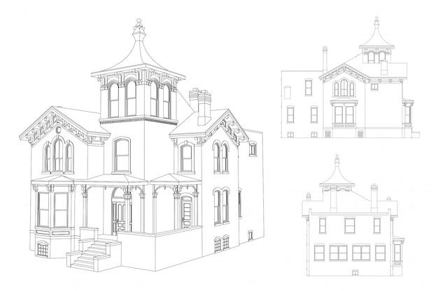 ビクトリア朝様式の青写真の古い家 Premiumベクター